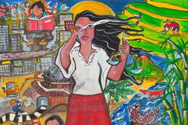 """Årets motiv for kvinnenes internasjonale bønnedag  har tittelen A Glimpse of the Philippine Situation, og er laget av Rowena """"Apol"""" Laxamana-Sta.Rosa ."""